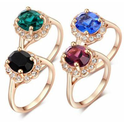 Cirkónia köves aranyozott gyűrű