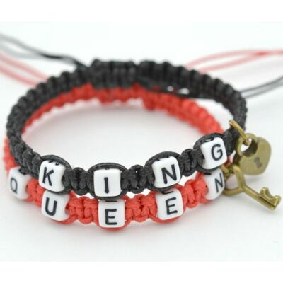 Fonott King-Queen páros karkötő
