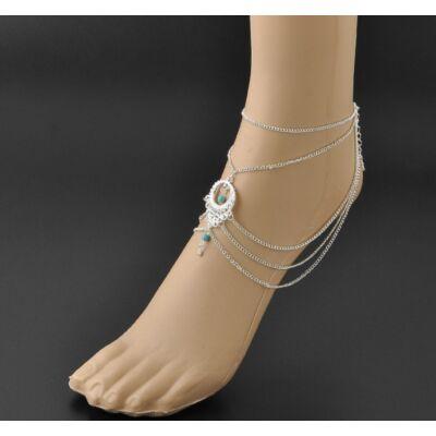 Bohém türkiz lábfej ékszer
