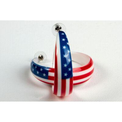 Amerikai zászlós karika fülbevaló