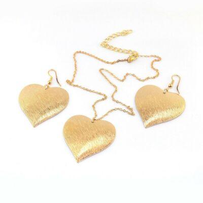 Arany szív nyaklánc + fülbevaló szett