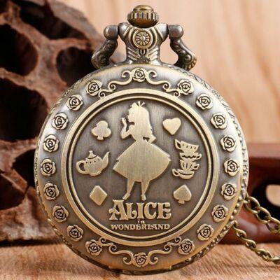 Alice csodaországban zsebóra-nyaklánc