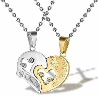 """Páros ezüst nyaklánc """"dupla szív"""""""