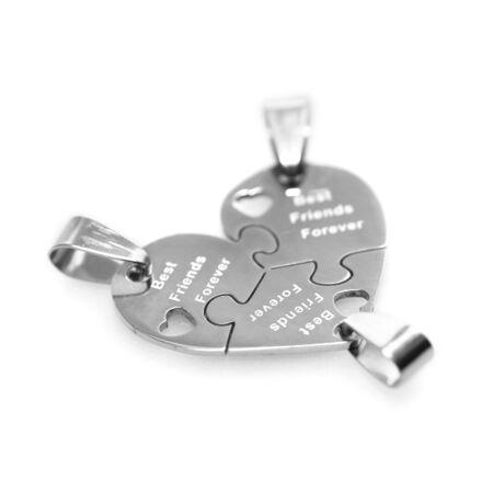 """Tripla barátság nyaklánc """"puzzle szív"""" (acél)"""