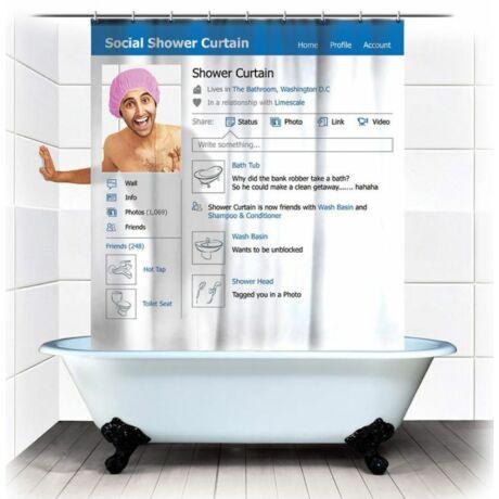 Közösségi média zuhanyfüggöny