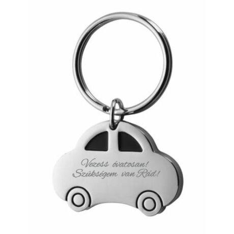 Vezess óvatosan autó alakú kulcstartó