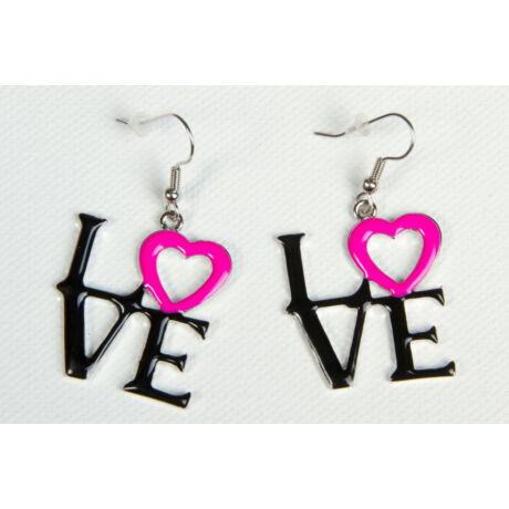 Pink-fekete Love fülbevaló