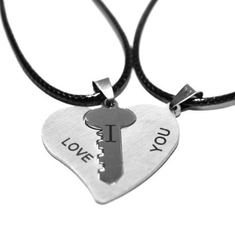 Acél kulcs a szívben páros nyaklánc