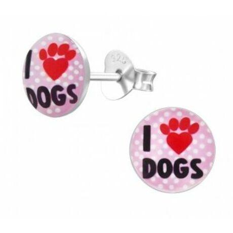 Ezüst I Love Dogs fülbevaló