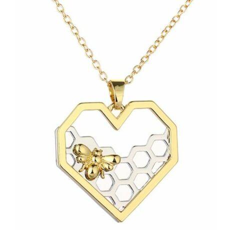 Szív alakú méhecskés nyaklánc