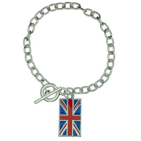 Brit zászlós ezüst színű karkötő