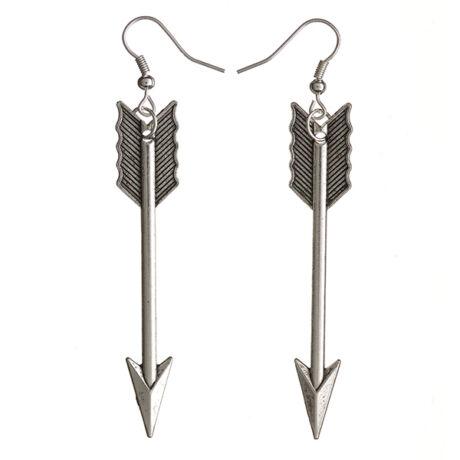 Éhezők viadala stílusú ezüst nyíl fülbevaló
