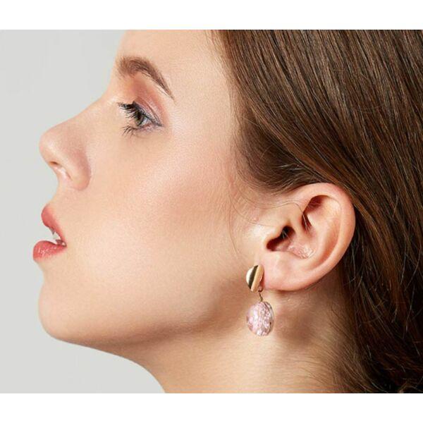 Szárított virágos pink fülbevaló