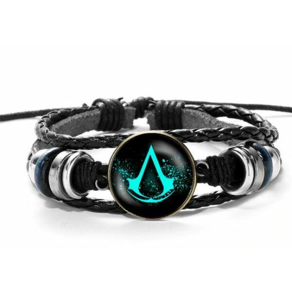 Üveges Assassin's Creed bőr karkötő