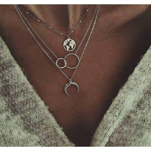Háromrészes nyaklánc földgömbbel