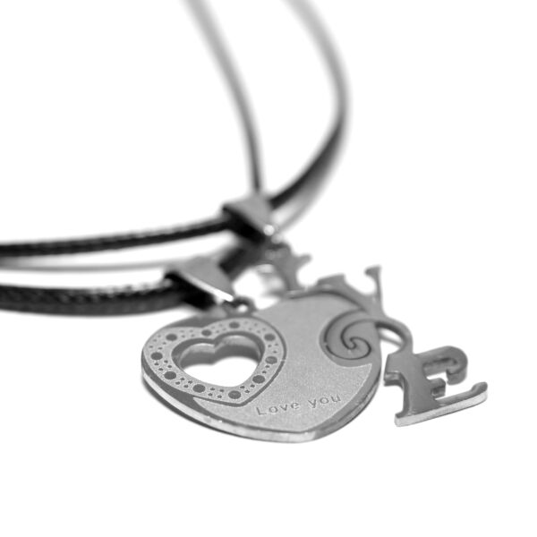 Acél törhető medálos LOVE + szív páros nyaklánc