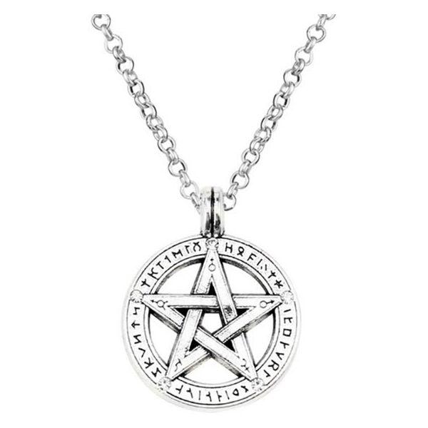 Ezüst színű Odaát pentagram nyaklánc