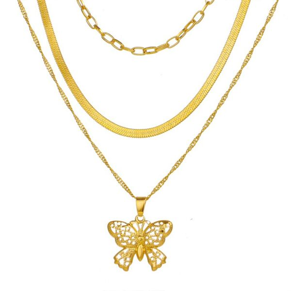 Háromsoros pillangós nyaklánc